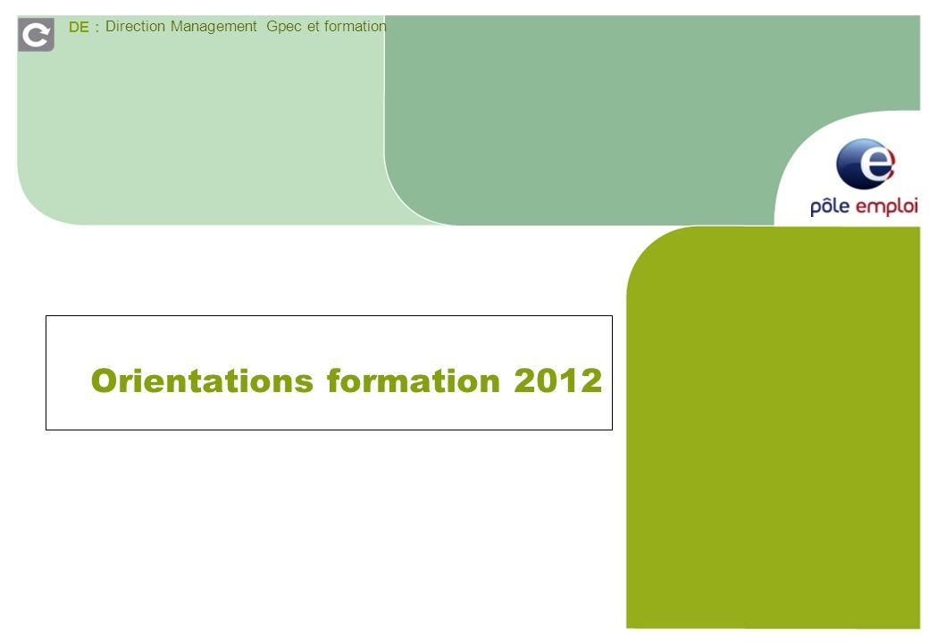 DE : Direction Management Gpec et formation Orientations formation 2012