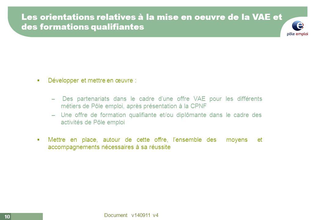 10 Document v140911 v4 10 Développer et mettre en œuvre : – Des partenariats dans le cadre dune offre VAE pour les différents métiers de Pôle emploi,