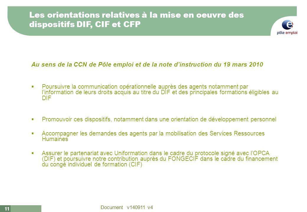 11 Document v140911 v4 11 Au sens de la CCN de Pôle emploi et de la note dinstruction du 19 mars 2010 Poursuivre la communication opérationnelle auprè
