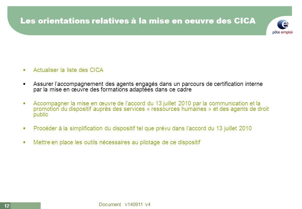 12 Document v140911 v4 12 Actualiser la liste des CICA Assurer laccompagnement des agents engagés dans un parcours de certification interne par la mis