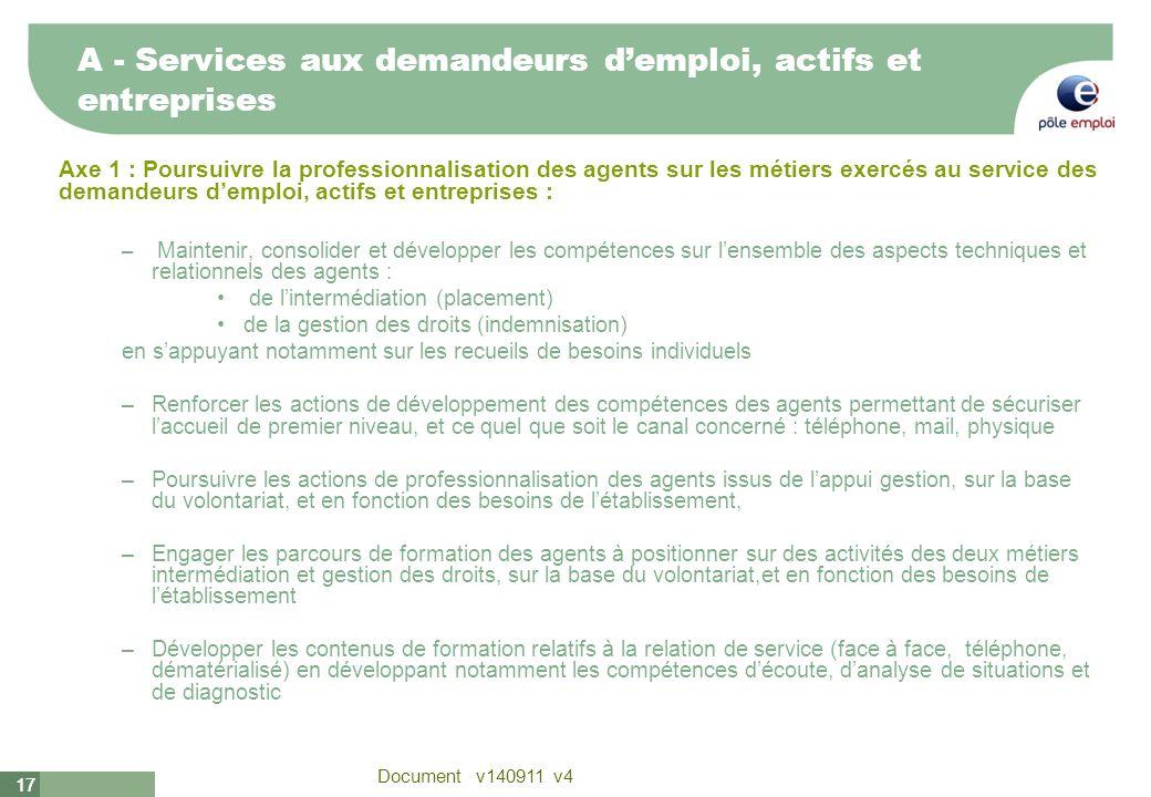 17 Document v140911 v4 17 A - Services aux demandeurs demploi, actifs et entreprises Axe 1 : Poursuivre la professionnalisation des agents sur les mét