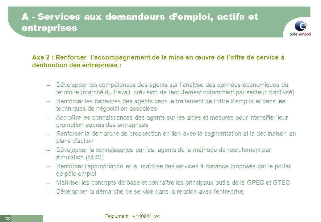 18 Document v140911 v4 18 Axe 2 : Renforcer laccompagnement de la mise en œuvre de loffre de service à destination des entreprises : –Développer les c