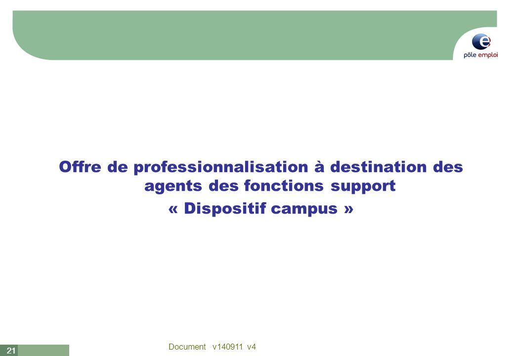 21 Document v140911 v4 21 Offre de professionnalisation à destination des agents des fonctions support « Dispositif campus »