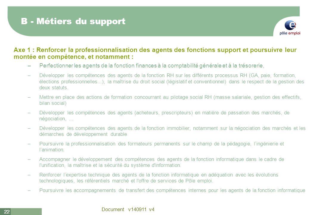 22 Document v140911 v4 22 B - Métiers du support Axe 1 : Renforcer la professionnalisation des agents des fonctions support et poursuivre leur montée