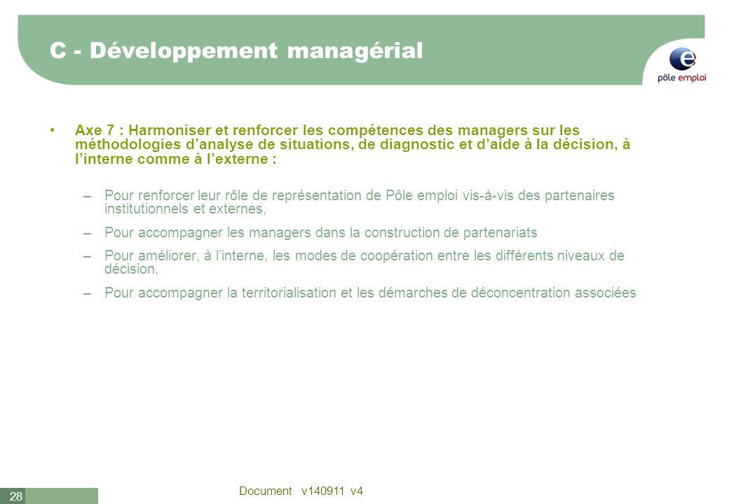 28 Document v140911 v4 Axe 7 : Harmoniser et renforcer les compétences des managers sur les méthodologies danalyse de situations, de diagnostic et dai