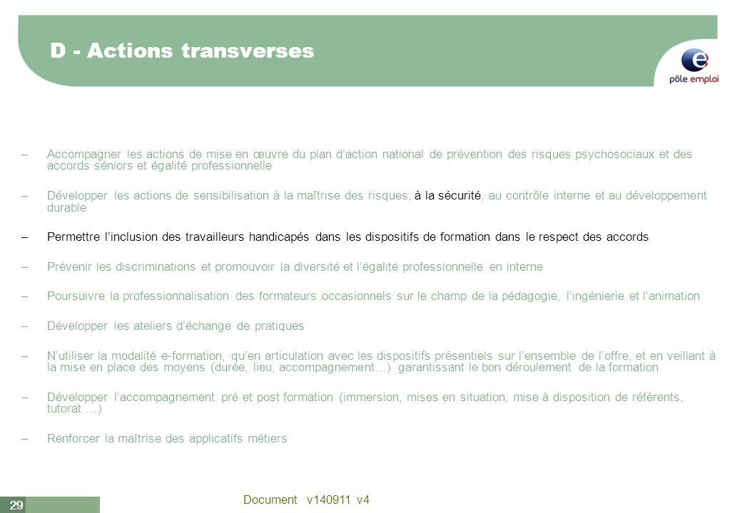 29 Document v140911 v4 29 D - Actions transverses –Accompagner les actions de mise en œuvre du plan daction national de prévention des risques psychos