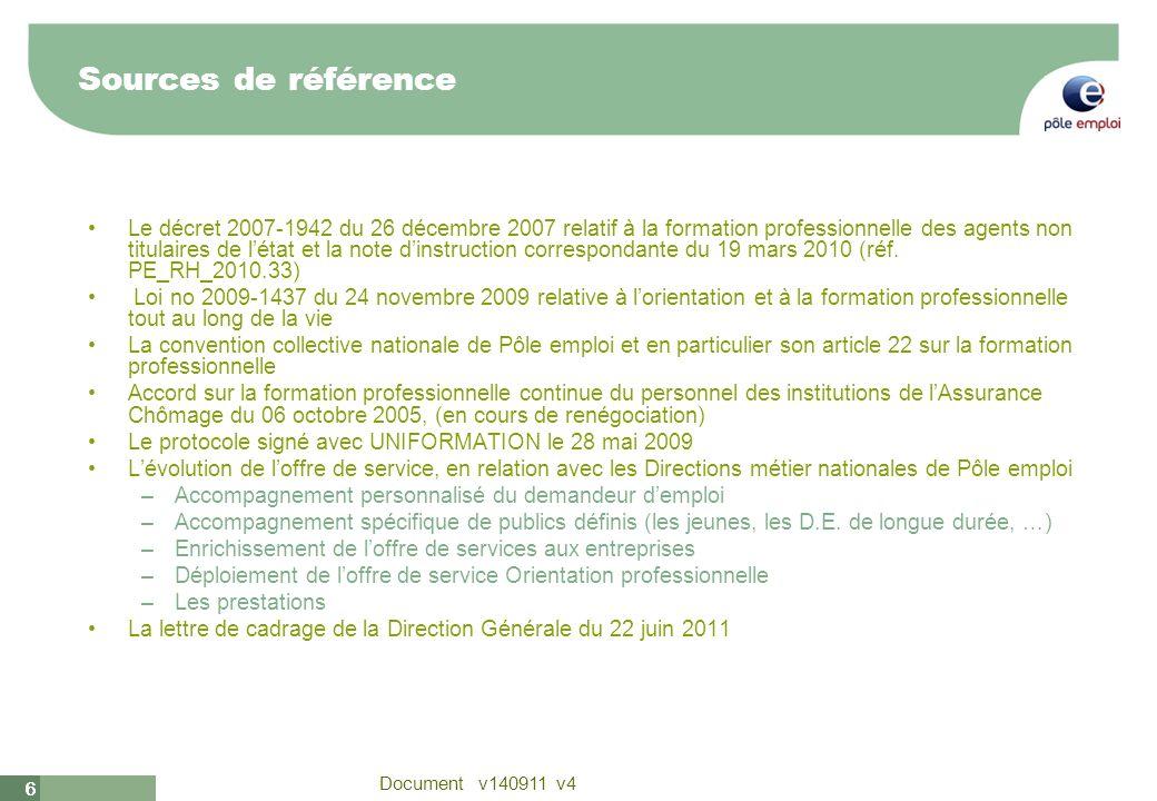 6 Document v140911 v4 66 Sources de référence Le décret 2007-1942 du 26 décembre 2007 relatif à la formation professionnelle des agents non titulaires