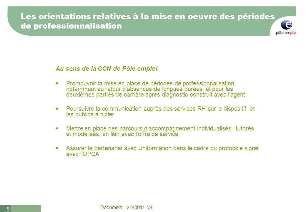 9 Document v140911 v4 99 Les orientations relatives à la mise en oeuvre des périodes de professionnalisation Au sens de la CCN de Pôle emploi Promouvo