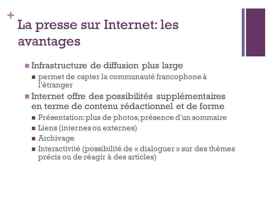 + La presse sur Internet: les avantages Infrastructure de diffusion plus large permet de capter la communauté francophone à l étranger Internet offre