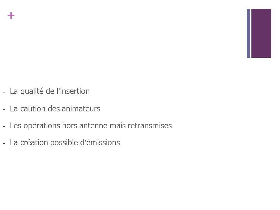 + - La qualité de linsertion - La caution des animateurs - Les opérations hors antenne mais retransmises - La création possible démissions