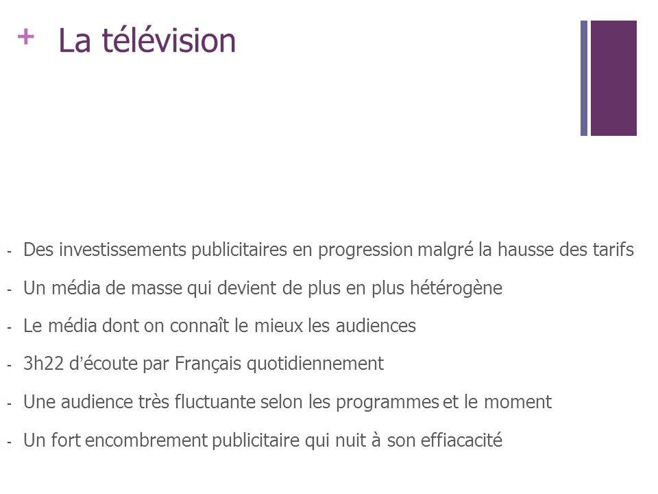 + La télévision - Des investissements publicitaires en progression malgré la hausse des tarifs - Un média de masse qui devient de plus en plus hétérog