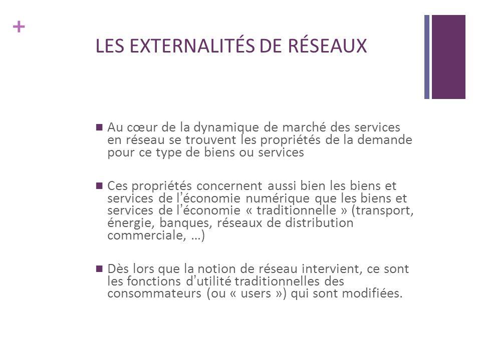 + LES EXTERNALITÉS DE RÉSEAUX Au cœur de la dynamique de marché des services en réseau se trouvent les propriétés de la demande pour ce type de biens