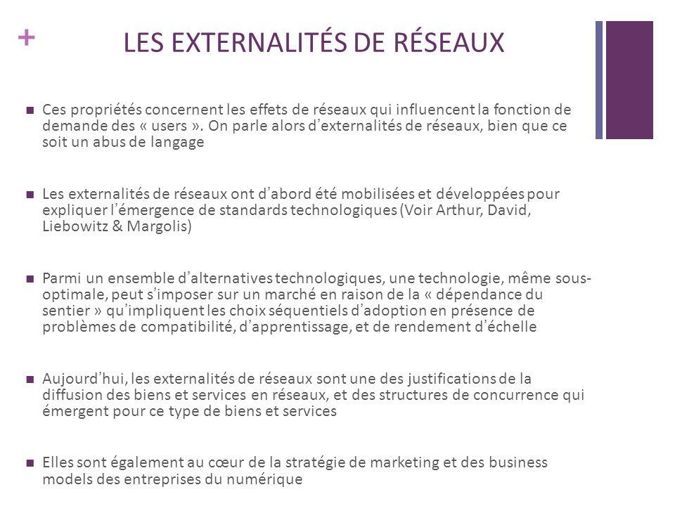 + LES EXTERNALITÉS DE RÉSEAUX Ces propriétés concernent les effets de réseaux qui influencent la fonction de demande des « users ».