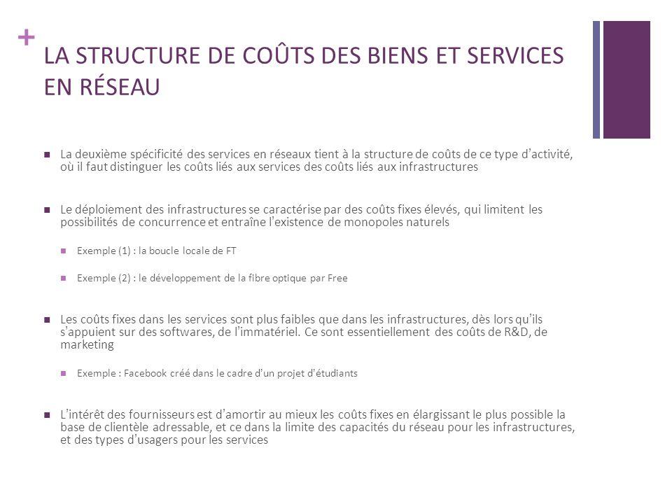 + LA STRUCTURE DE COÛTS DES BIENS ET SERVICES EN RÉSEAU La deuxième spécificité des services en réseaux tient à la structure de coûts de ce type dacti