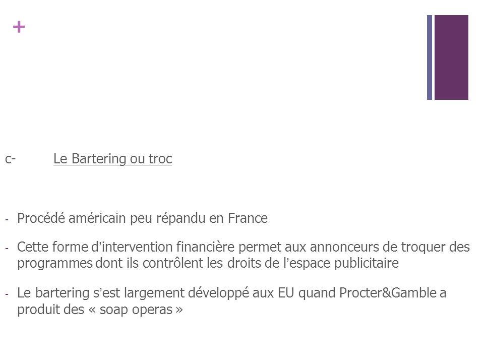 + c-Le Bartering ou troc - Procédé américain peu répandu en France - Cette forme dintervention financière permet aux annonceurs de troquer des program