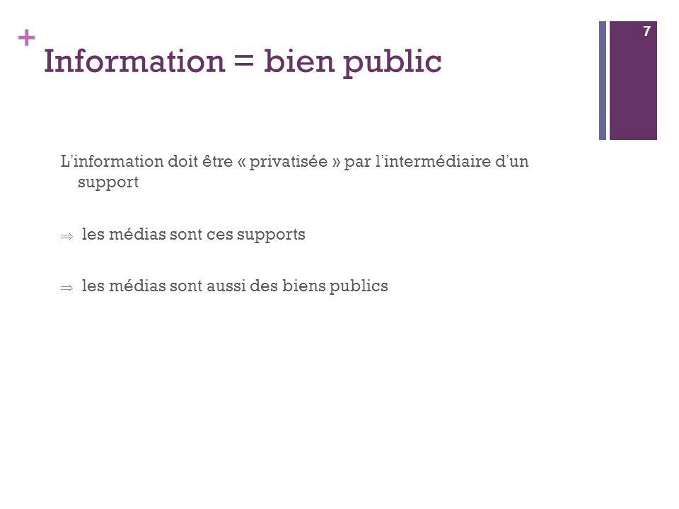 + Information = bien public L information doit être « privatisée » par l intermédiaire d un support les médias sont ces supports les médias sont aussi des biens publics 7