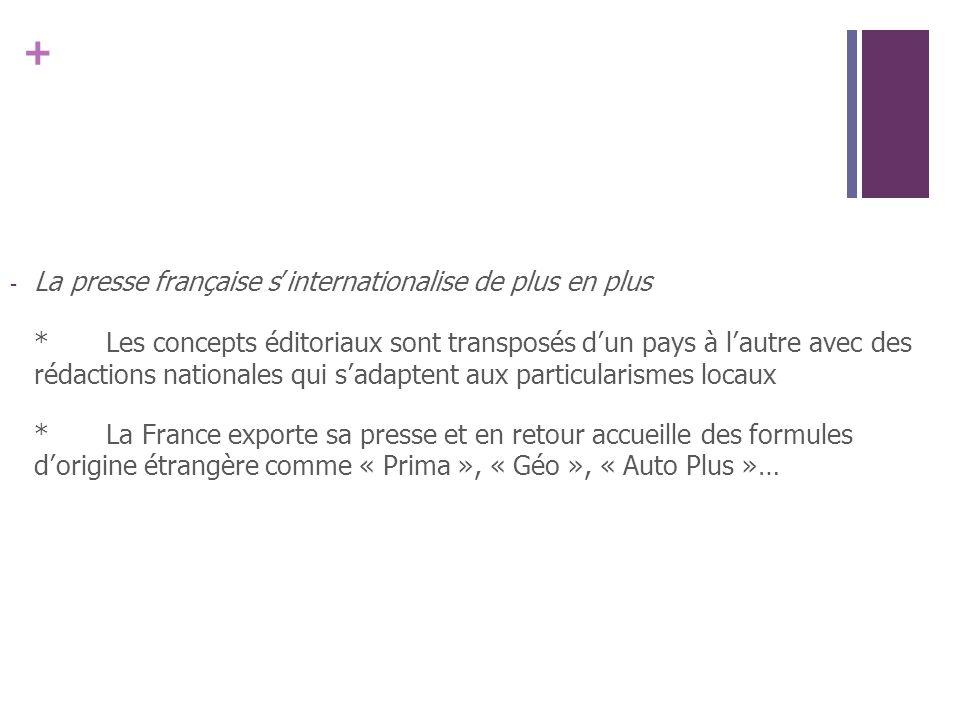 + - La presse française sinternationalise de plus en plus *Les concepts éditoriaux sont transposés dun pays à lautre avec des rédactions nationales qu