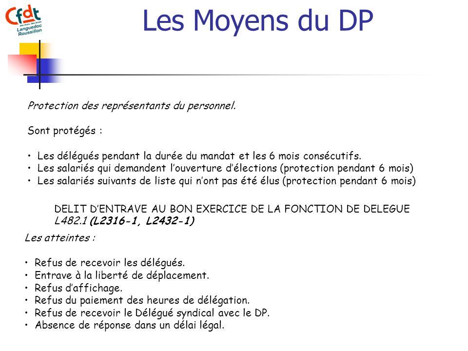 Les Moyens du DP Protection des représentants du personnel.