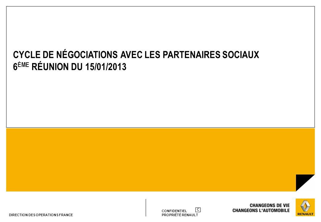 CONFIDENTIEL PROPRIÉTÉ RENAULT C DIRECTION DES OPERATIONS FRANCE CYCLE DE NÉGOCIATIONS AVEC LES PARTENAIRES SOCIAUX 6 ÈME RÉUNION DU 15/01/2013