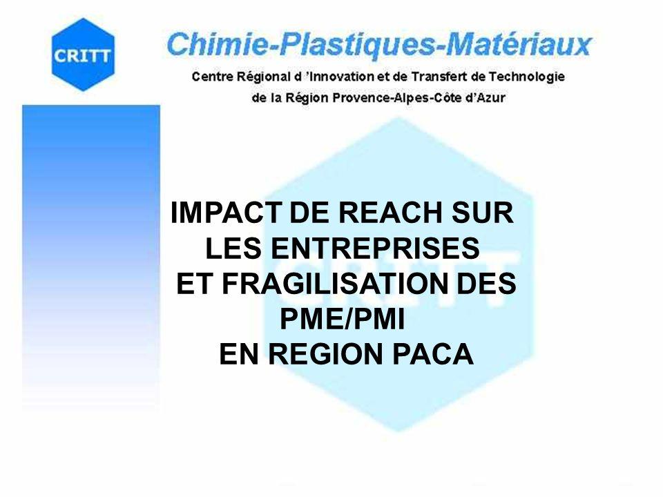 IMPACT DE REACH SUR LES ENTREPRISES ET FRAGILISATION DES PME/PMI EN REGION PACA