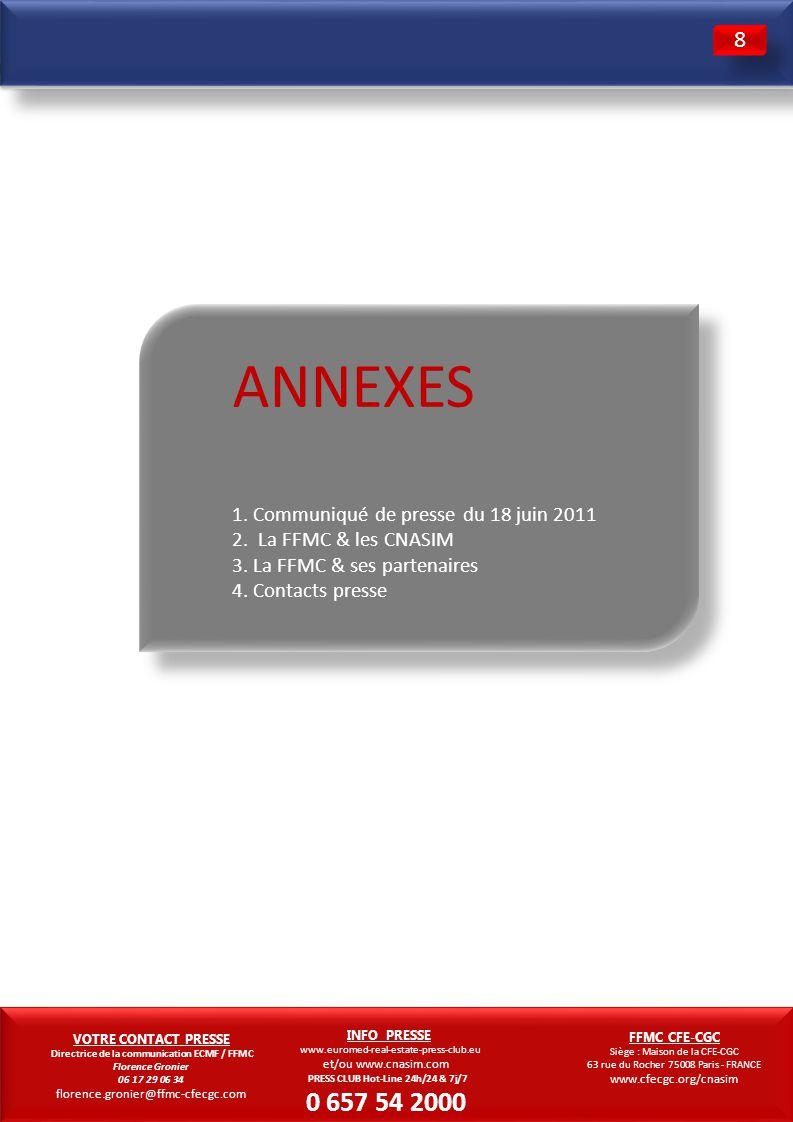 11 ANNEXES 1. Communiqué de presse du 18 juin 2011 2. La FFMC & les CNASIM 3. La FFMC & ses partenaires 4. Contacts presse 3 3 8 8 VOTRE CONTACT PRESS