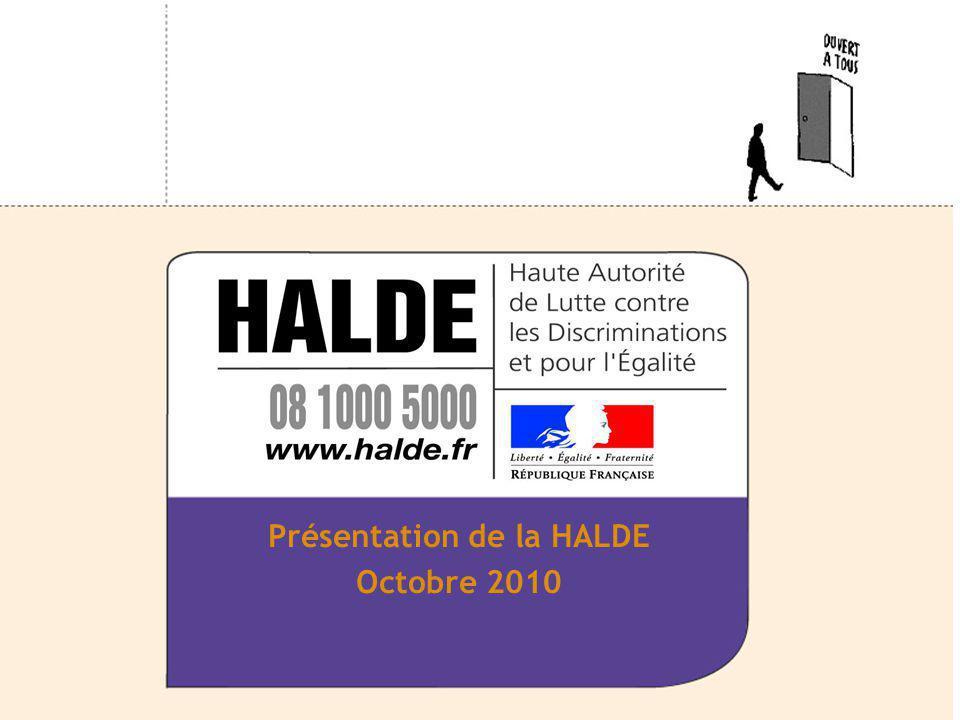 Présentation I - Raisons de la création de la HALDE II - Compétence III – Promouvoir légalité IV – Les délibérations du collège V – Organisation VI – Laction territoriale