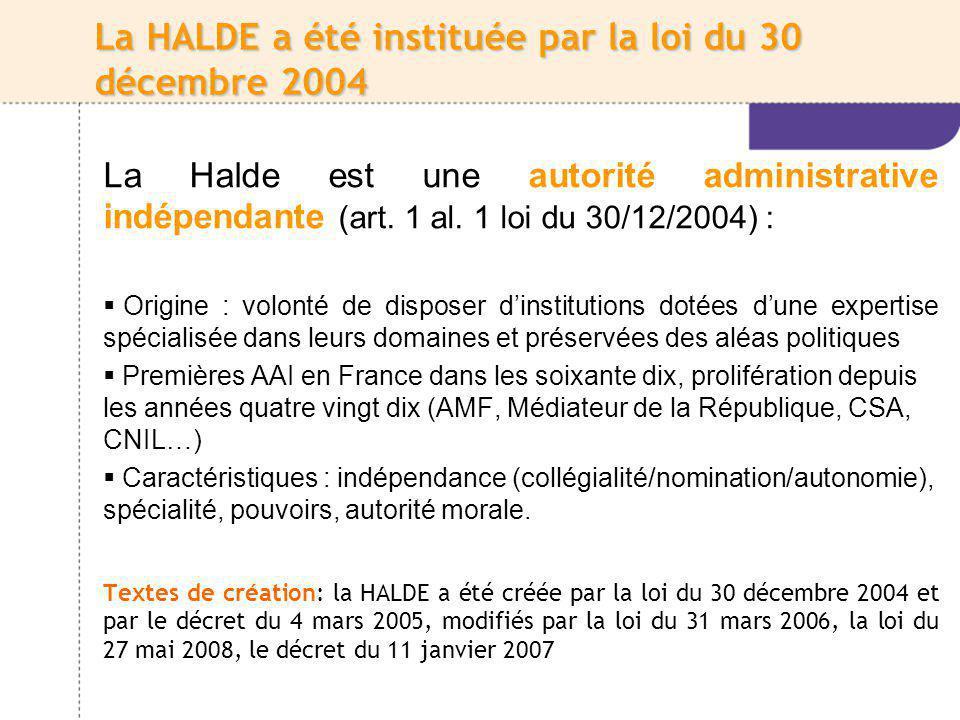 La création de la HALDE répond à une forte demande Plus de 40 000 saisines enregistrées depuis la création de la HALDE du 1er janvier 2005 au 30 septembre 2010 Les saisines sont en progression constante : 1 400 saisines en 2005, 4 000 saisines en 2006, 6200 saisines en 2007, 8705 en 2008, 10545 saisines pour lannée 2009 58 % des réclamations sont formulées par des hommes