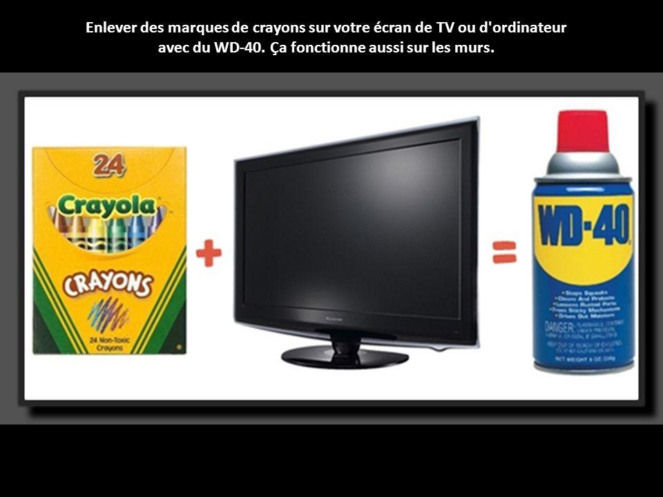 Enlever des marques de crayons sur votre écran de TV ou d ordinateur avec du WD-40.