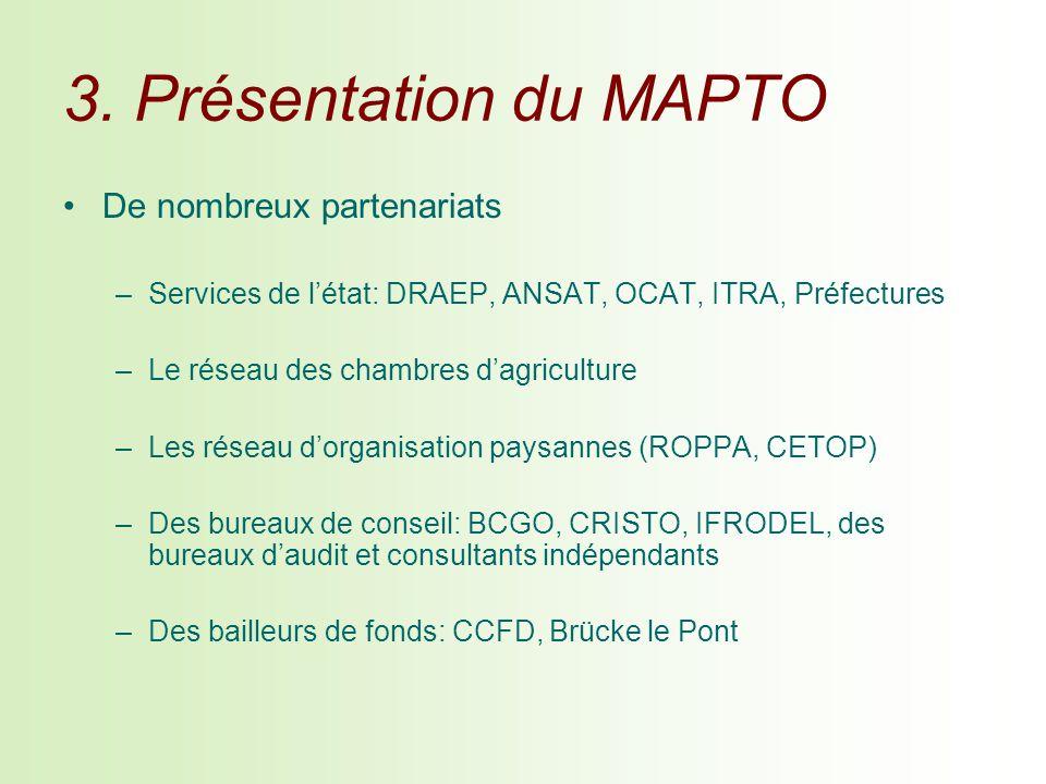 3. Présentation du MAPTO De nombreux partenariats –Services de létat: DRAEP, ANSAT, OCAT, ITRA, Préfectures –Le réseau des chambres dagriculture –Les