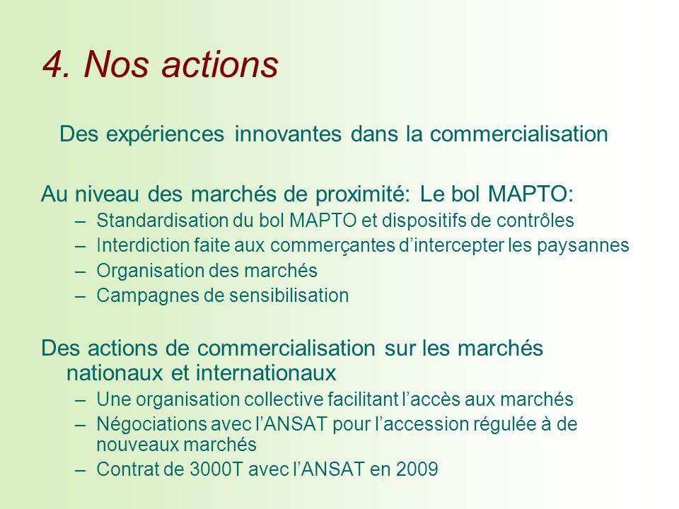 4. Nos actions Des expériences innovantes dans la commercialisation Au niveau des marchés de proximité: Le bol MAPTO: –Standardisation du bol MAPTO et