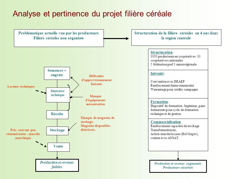 Analyse et pertinence du projet filière céréale Structuration de la filière céréales en 4 ans dans la région centrale Problématique actuelle vue par l