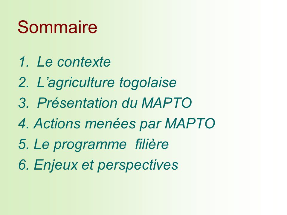 Sommaire 1.Le contexte 2.Lagriculture togolaise 3.Présentation du MAPTO 4. Actions menées par MAPTO 5. Le programme filière 6. Enjeux et perspectives
