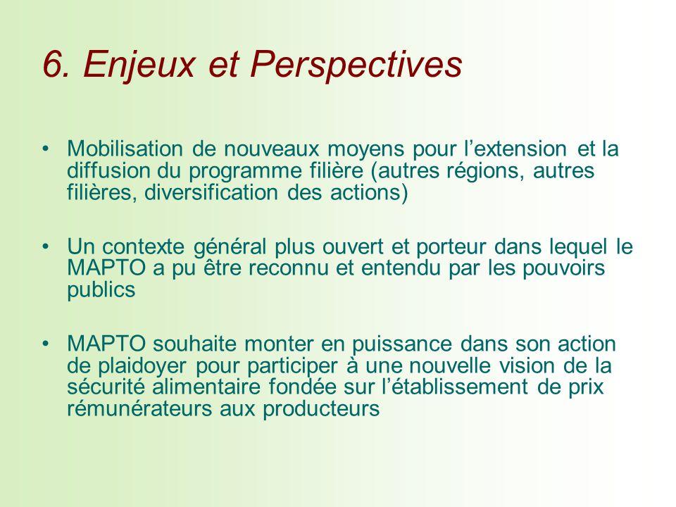 6. Enjeux et Perspectives Mobilisation de nouveaux moyens pour lextension et la diffusion du programme filière (autres régions, autres filières, diver