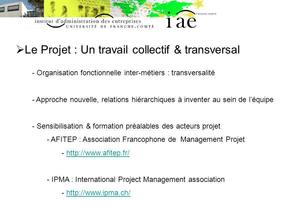 Le Projet : Un travail collectif & transversal - Organisation fonctionnelle inter-métiers : transversalité - Approche nouvelle, relations hiérarchiques à inventer au sein de léquipe - Sensibilisation & formation préalables des acteurs projet - AFITEP : Association Francophone de Management Projet - http://www.afitep.fr/http://www.afitep.fr/ - IPMA : International Project Management association - http://www.ipma.ch/http://www.ipma.ch/