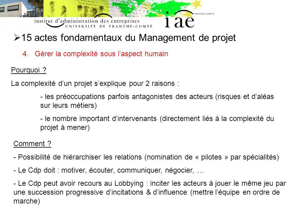 15 actes fondamentaux du Management de projet 4.Gérer la complexité sous laspect humain Pourquoi .