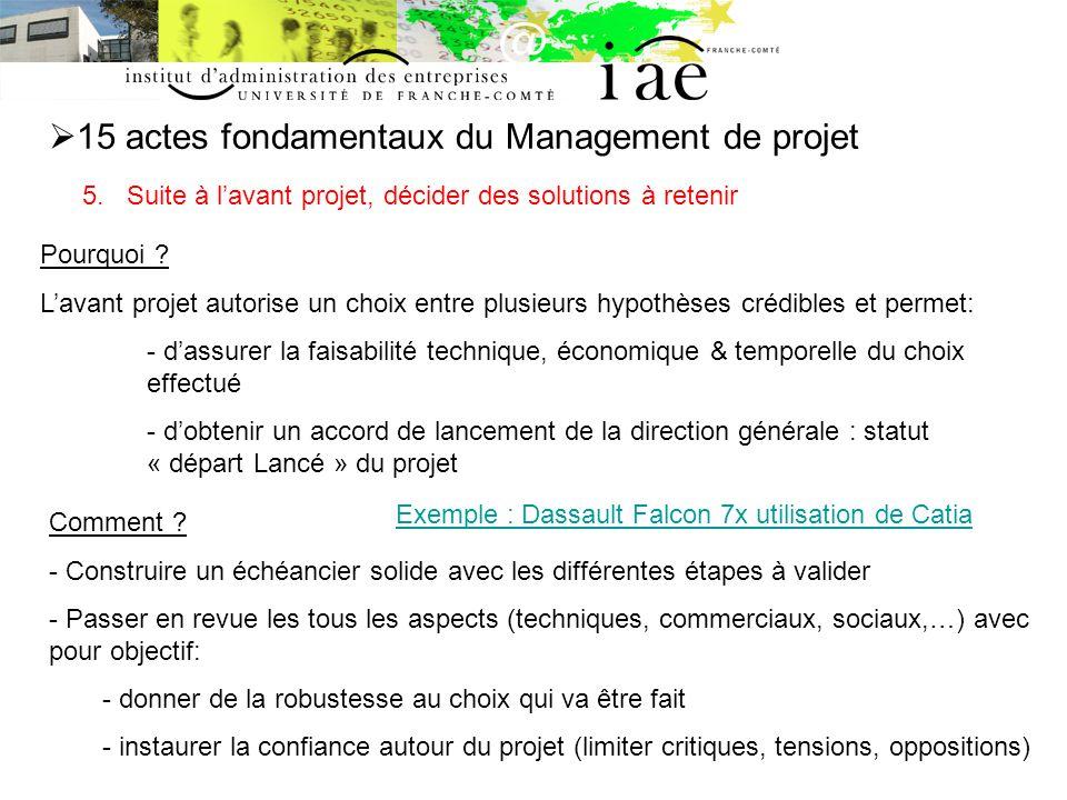 15 actes fondamentaux du Management de projet 5.