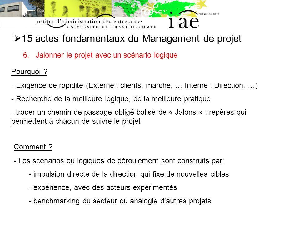 15 actes fondamentaux du Management de projet 6.