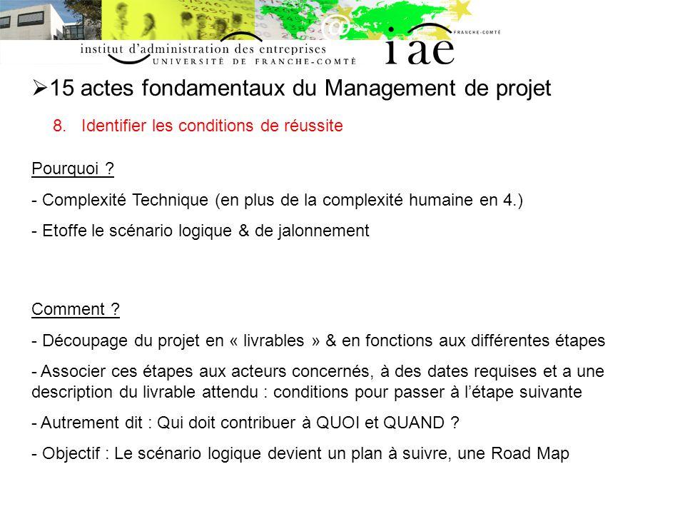 15 actes fondamentaux du Management de projet 8.Identifier les conditions de réussite Pourquoi .