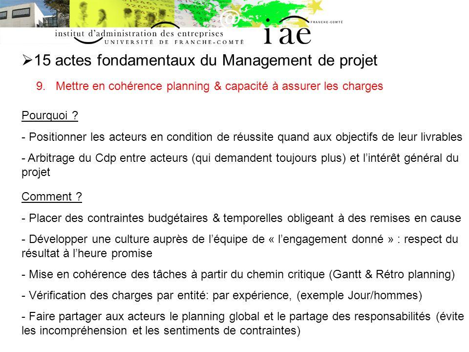 15 actes fondamentaux du Management de projet 9.
