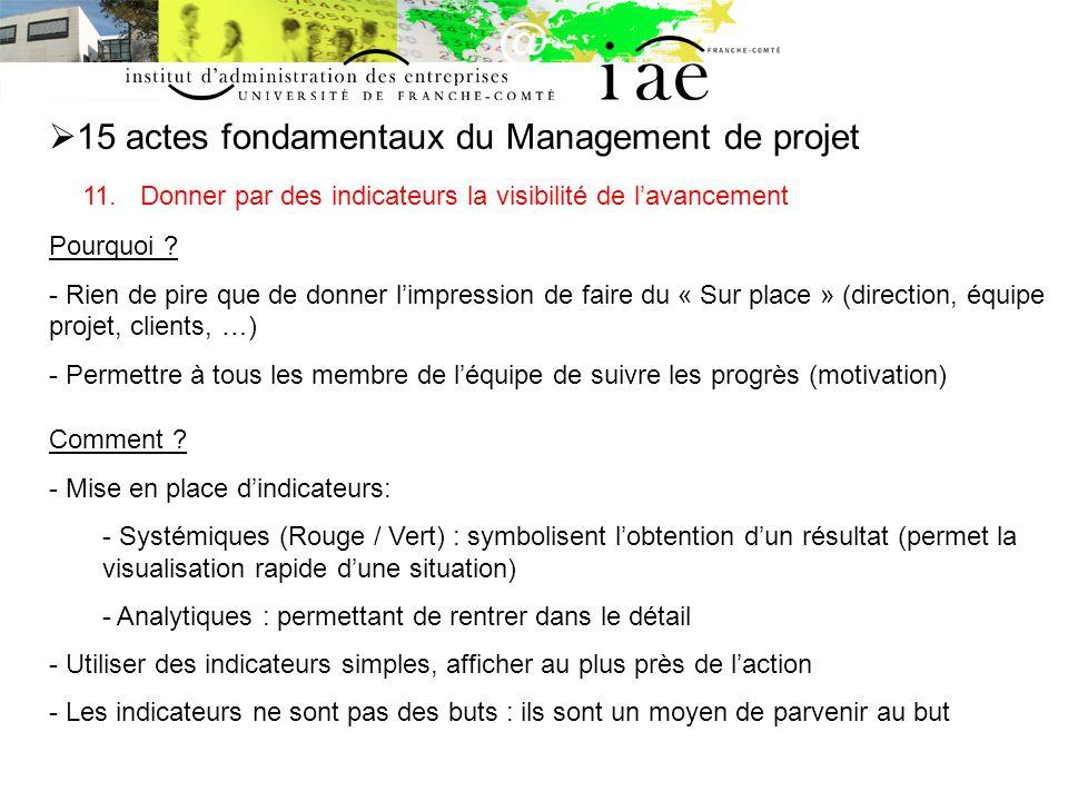 15 actes fondamentaux du Management de projet 11.
