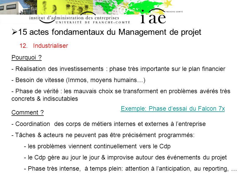 15 actes fondamentaux du Management de projet 12.Industrialiser Pourquoi .