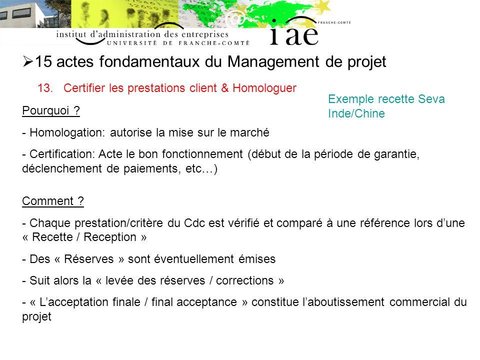 15 actes fondamentaux du Management de projet 13.