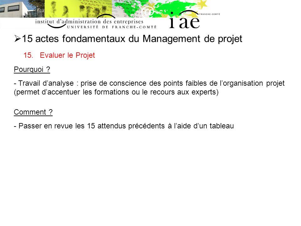 15 actes fondamentaux du Management de projet 15.Evaluer le Projet Pourquoi .