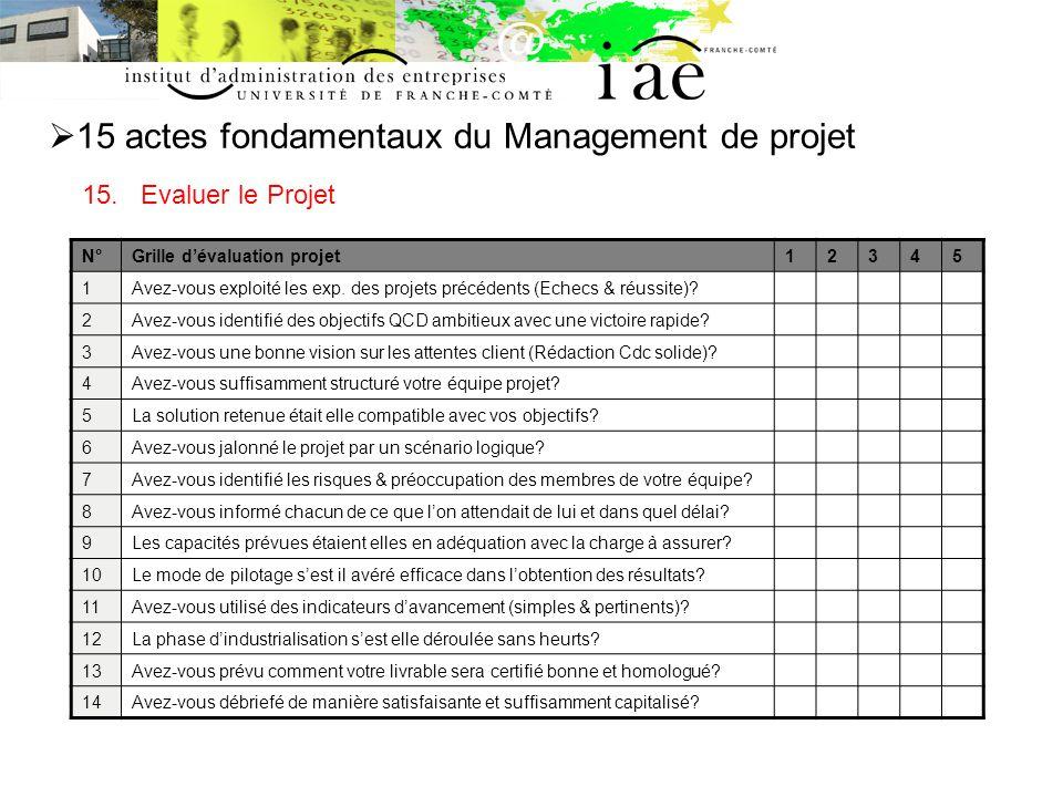 15 actes fondamentaux du Management de projet 15.