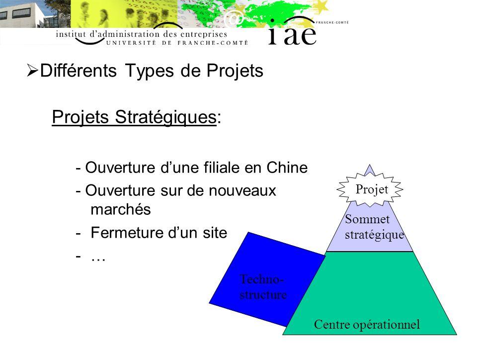 Différents Types de Projets Projets Stratégiques: - Ouverture dune filiale en Chine - Ouverture sur de nouveaux marchés -Fermeture dun site -… Centre opérationnel Sommet stratégique Techno- structure Projet