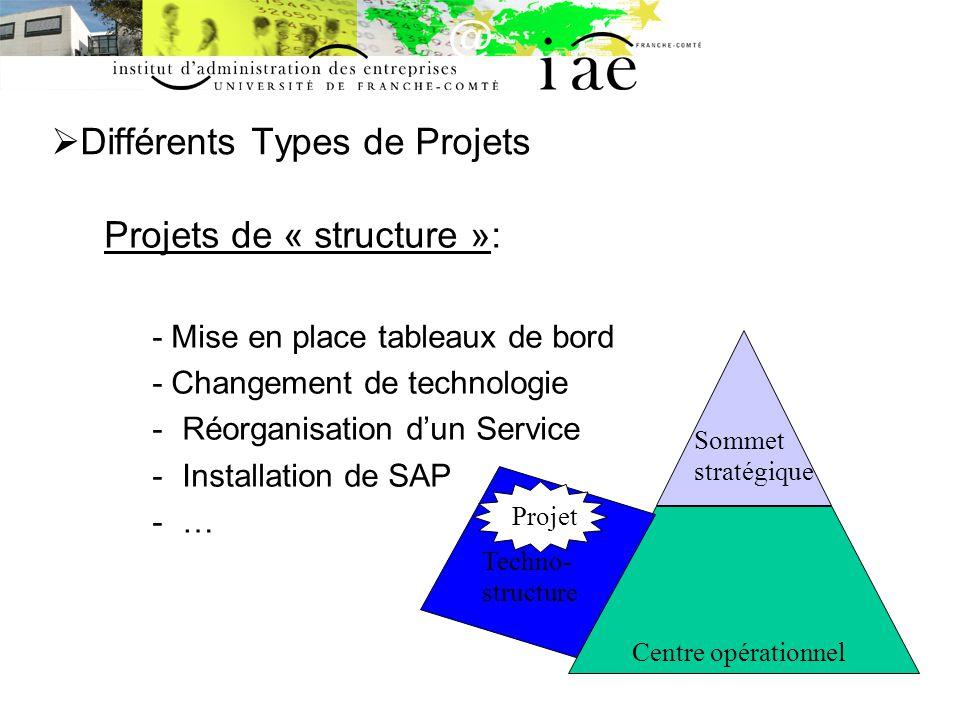 Différents Types de Projets Projets de « structure »: - Mise en place tableaux de bord - Changement de technologie -Réorganisation dun Service -Installation de SAP -… Centre opérationnel Sommet stratégique Techno- structure Projet