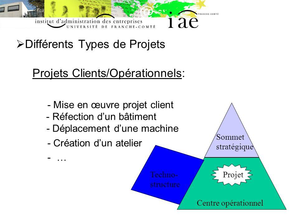Différents Types de Projets Projets Clients/Opérationnels: - Mise en œuvre projet client - Réfection dun bâtiment - Déplacement dune machine - Création dun atelier -… Centre opérationnel Sommet stratégique Techno- structure Projet