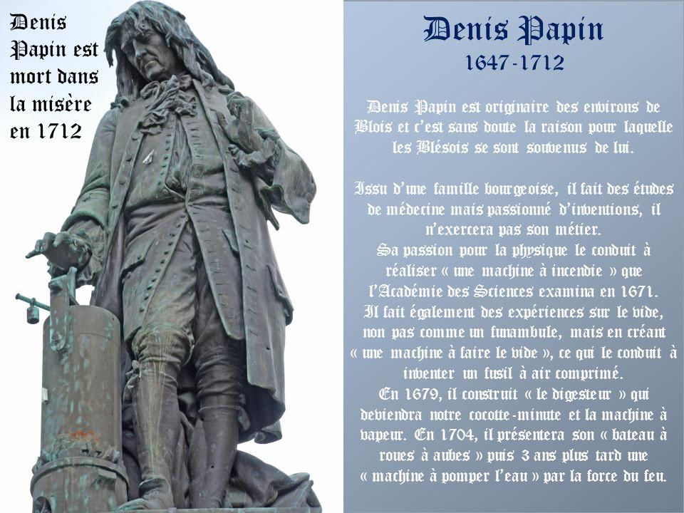 Rue Denis Papin Cette rue, dominée par Denis Papin, a été créée à la demande de la Marquise de Pompadour. Celle-ci avait reçu le château de Mesnars en