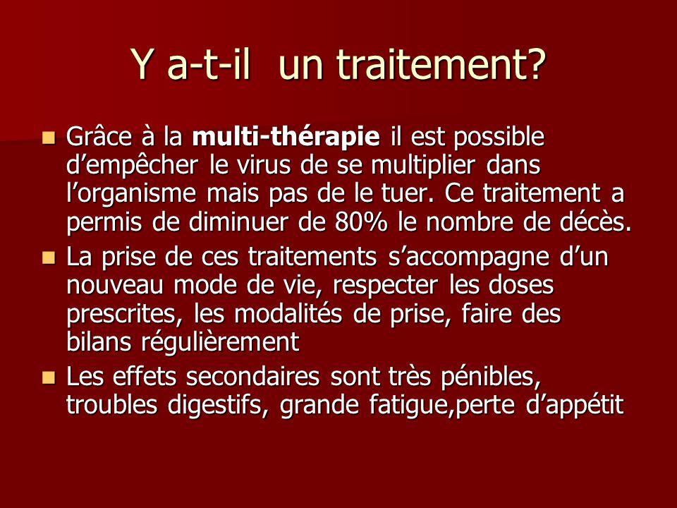 Y a-t-il un traitement? Grâce à la multi-thérapie il est possible dempêcher le virus de se multiplier dans lorganisme mais pas de le tuer. Ce traiteme