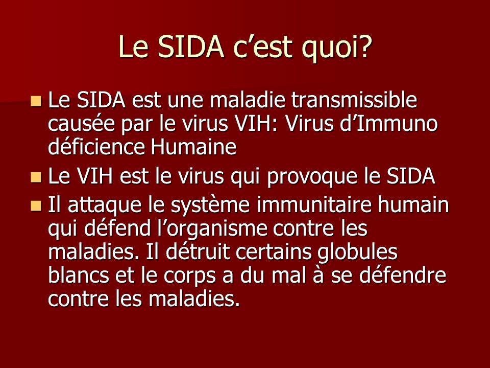 Le SIDA cest quoi? Le SIDA est une maladie transmissible causée par le virus VIH: Virus dImmuno déficience Humaine Le SIDA est une maladie transmissib